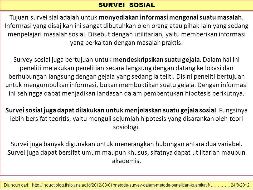 SURVEI SOSIAL Diunduh dari: http://indudt.blog.fisip.uns.ac.id/2012/03/01/metode-survey-dalam-metode-penelitian-kuantitatif/ ………….. 24/8/2012 Survei s