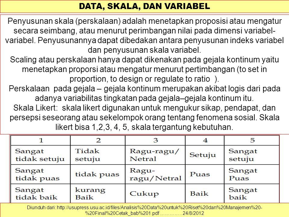 DATA, SKALA, DAN VARIABEL Data dapat dimaknai sebagai sekumpulan informasi atau nilai yang diperoleh dari pengamatan (observasi) suatu obyek, data dapat berupa angka dan dapat pula merupakan lambang atau sifat.