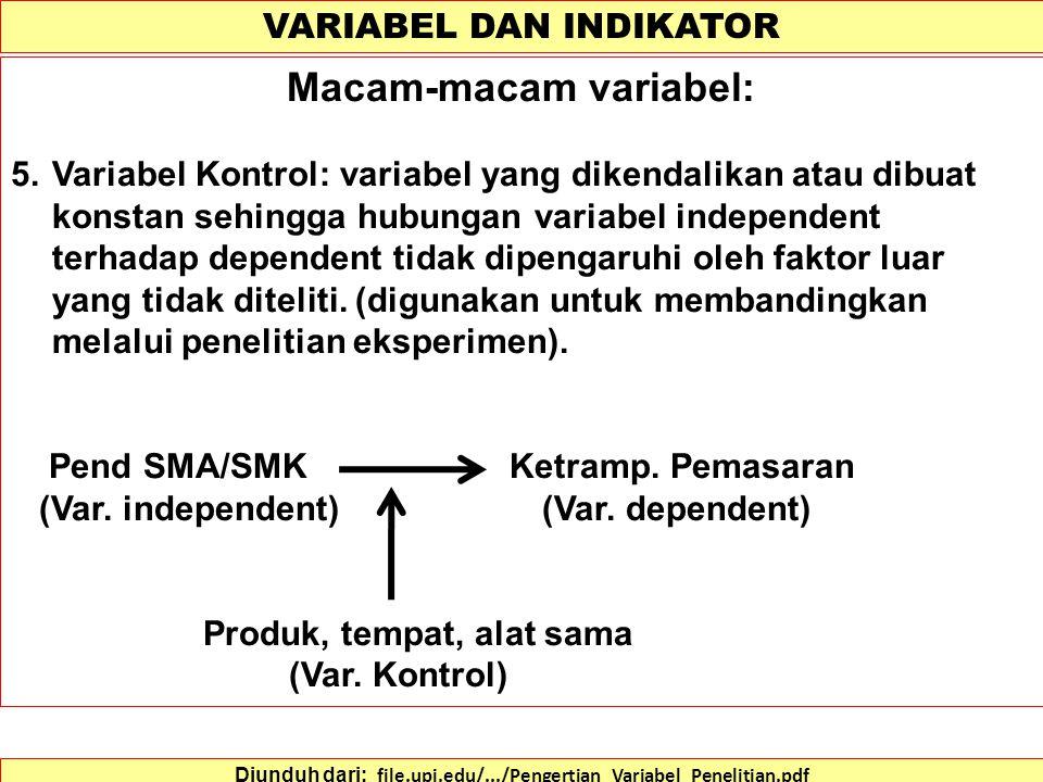 VARIABEL DAN INDIKATOR Diunduh dari: file.upi.edu/.../Pengertian_Variabel_Penelitian.pdf Macam-macam variabel: 3.