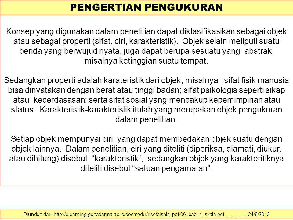 PENGERTIAN PENGUKURAN Diunduh dari: http://elearning.gunadarma.ac.id/docmodul/risetbisnis_pdf/06_bab_4_skala.pdf ………….. 24/8/2012 Banyak definisi peng
