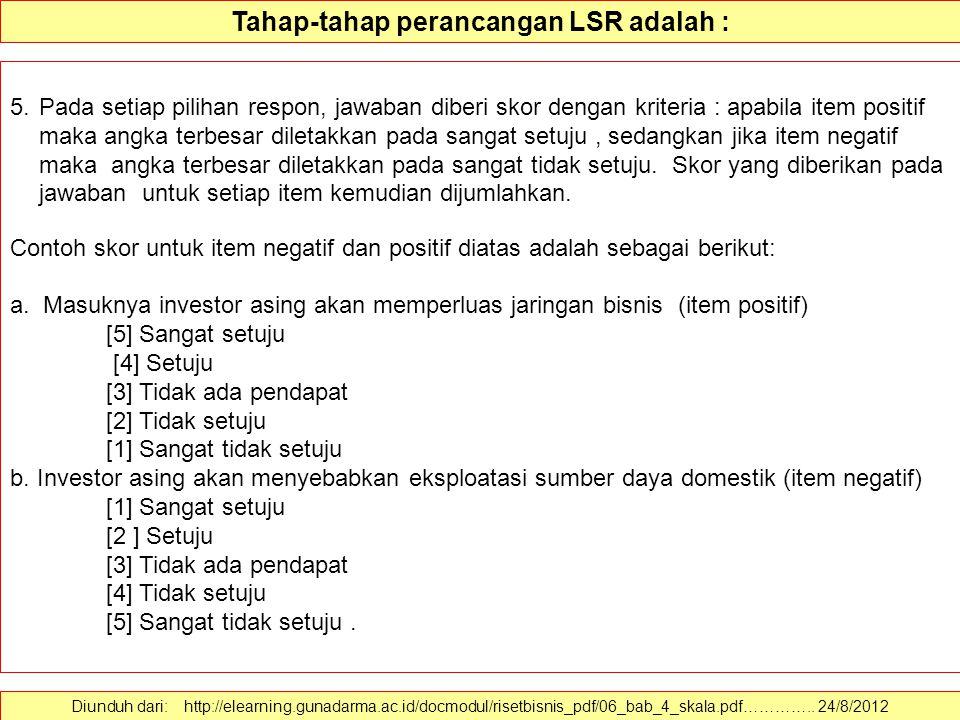 Tahap-tahap perancangan LSR adalah : Diunduh dari: http://elearning.gunadarma.ac.id/docmodul/risetbisnis_pdf/06_bab_4_skala.pdf………….. 24/8/2012 4. Set