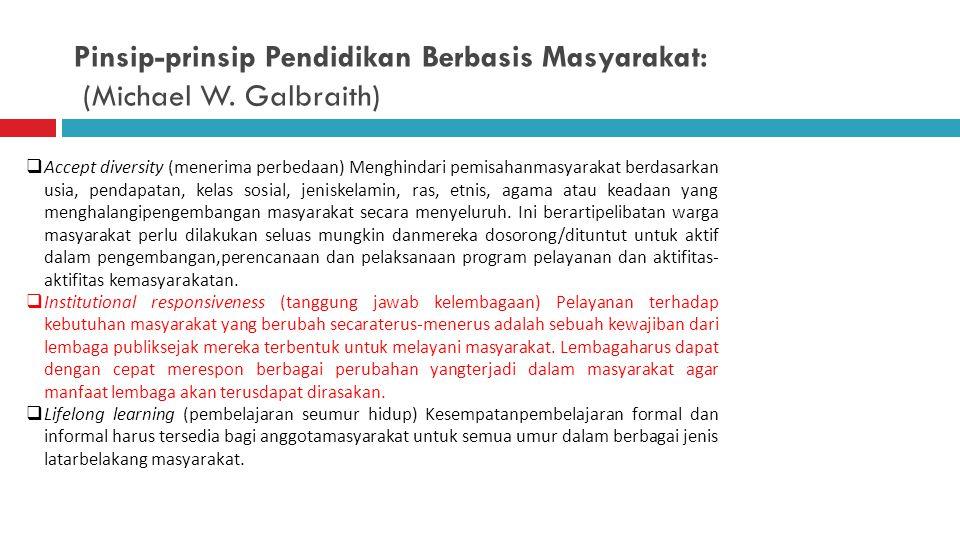Pinsip-prinsip Pendidikan Berbasis Masyarakat: (Michael W. Galbraith)  Localization (lokalisasi). Potensi terbesar untuk tingkatpartisipasi masyaraka