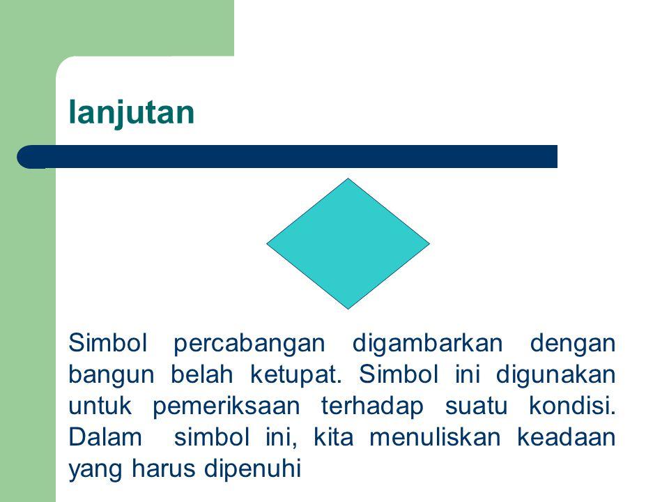lanjutan Simbol percabangan digambarkan dengan bangun belah ketupat. Simbol ini digunakan untuk pemeriksaan terhadap suatu kondisi. Dalam simbol ini,