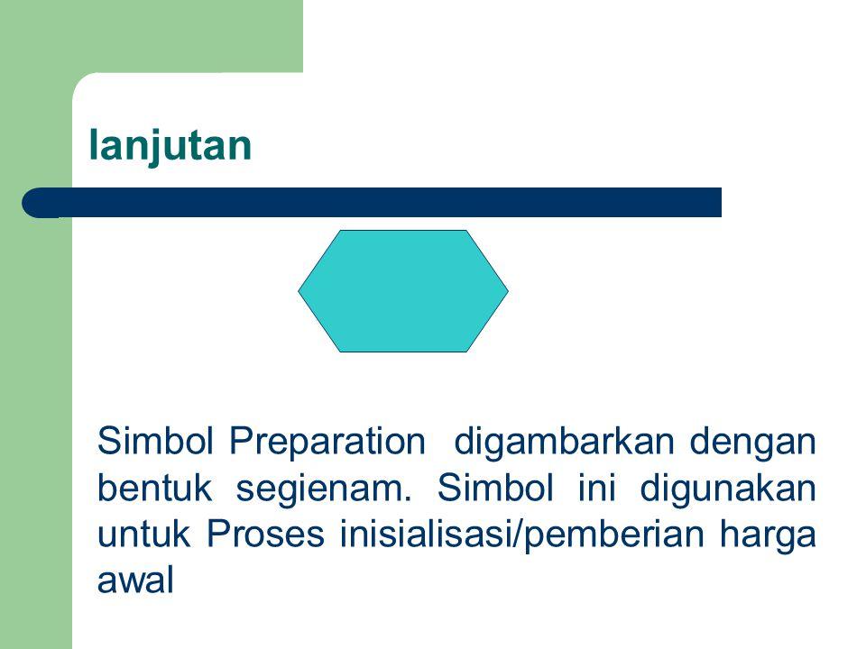 lanjutan Simbol Preparation digambarkan dengan bentuk segienam. Simbol ini digunakan untuk Proses inisialisasi/pemberian harga awal