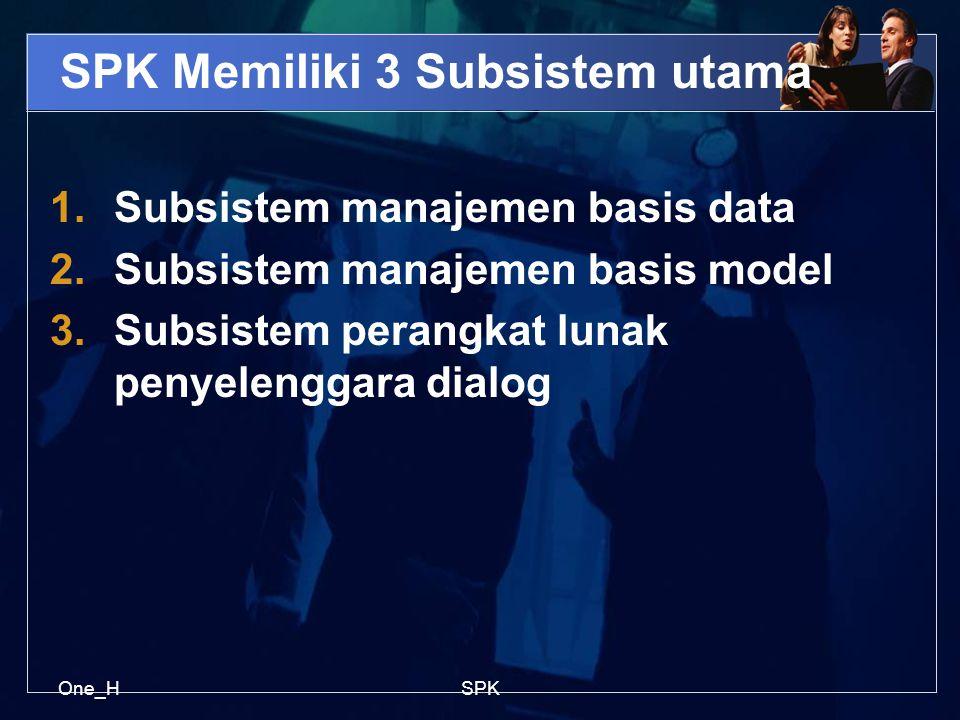 One_HSPK SPK Memiliki 3 Subsistem utama 1.Subsistem manajemen basis data 2.Subsistem manajemen basis model 3.Subsistem perangkat lunak penyelenggara d