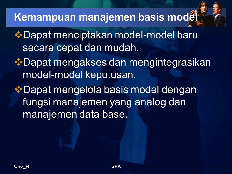 One_HSPK Kemampuan manajemen basis model  Dapat menciptakan model-model baru secara cepat dan mudah.  Dapat mengakses dan mengintegrasikan model-mod