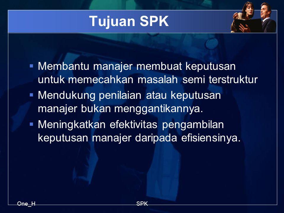 One_HSPK Tujuan SPK  Membantu manajer membuat keputusan untuk memecahkan masalah semi terstruktur  Mendukung penilaian atau keputusan manajer bukan menggantikannya.
