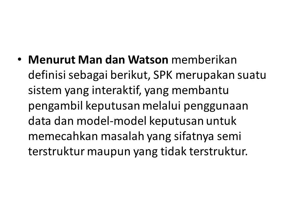 Menurut Man dan Watson memberikan definisi sebagai berikut, SPK merupakan suatu sistem yang interaktif, yang membantu pengambil keputusan melalui peng