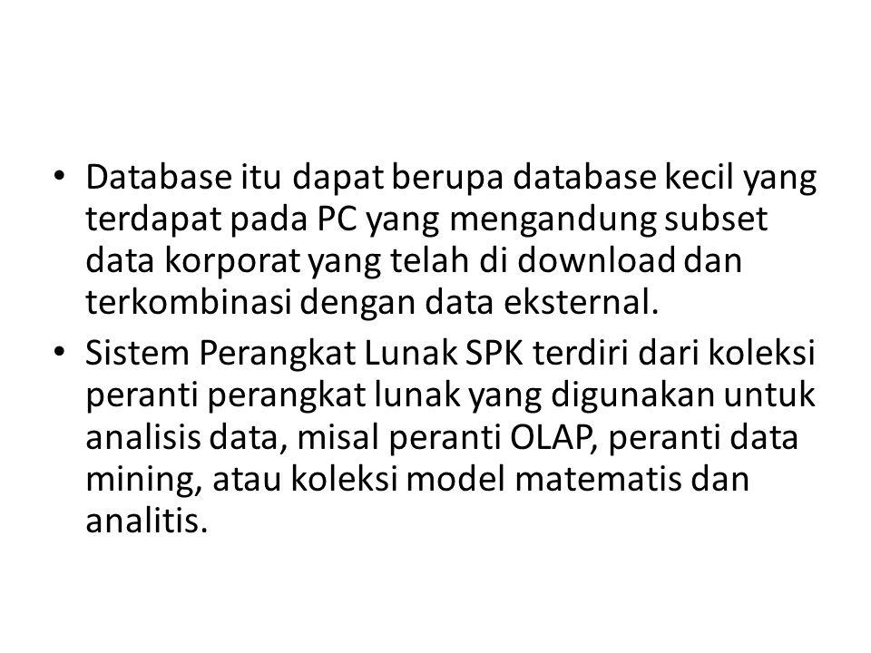 Database itu dapat berupa database kecil yang terdapat pada PC yang mengandung subset data korporat yang telah di download dan terkombinasi dengan dat