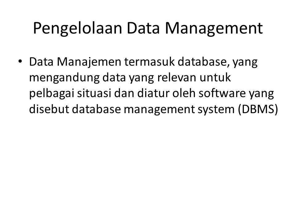 Pengelolaan Data Management Data Manajemen termasuk database, yang mengandung data yang relevan untuk pelbagai situasi dan diatur oleh software yang d