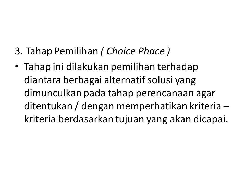 3. Tahap Pemilihan ( Choice Phace ) Tahap ini dilakukan pemilihan terhadap diantara berbagai alternatif solusi yang dimunculkan pada tahap perencanaan
