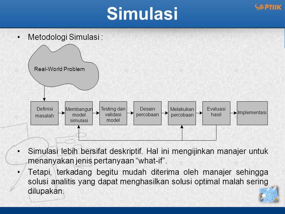 """Metodologi Simulasi : Simulasi lebih bersifat deskriptif. Hal ini mengijinkan manajer untuk menanyakan jenis pertanyaan """"what-if"""". Tetapi, terkadang b"""