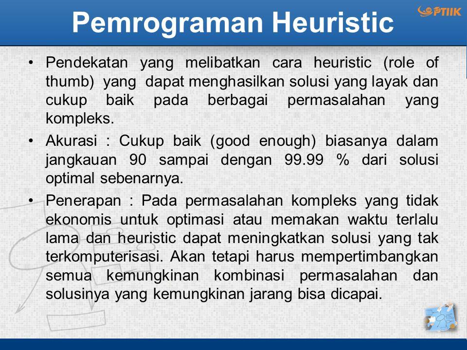 Pemrograman Heuristic Pendekatan yang melibatkan cara heuristic (role of thumb) yang dapat menghasilkan solusi yang layak dan cukup baik pada berbagai permasalahan yang kompleks.