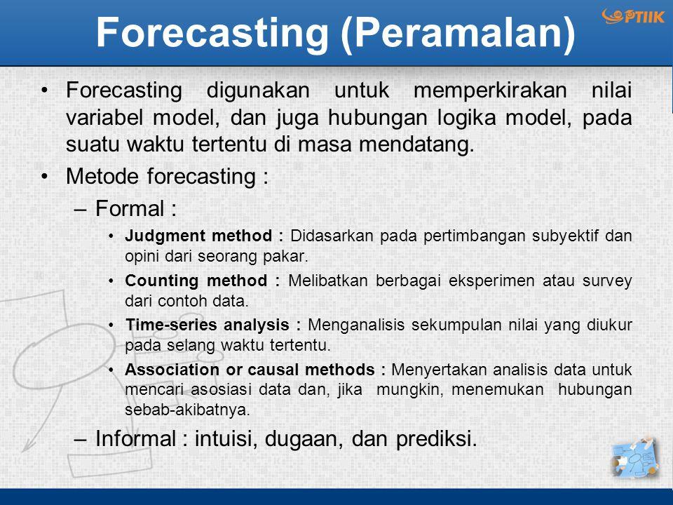 Forecasting (Peramalan) Forecasting digunakan untuk memperkirakan nilai variabel model, dan juga hubungan logika model, pada suatu waktu tertentu di masa mendatang.