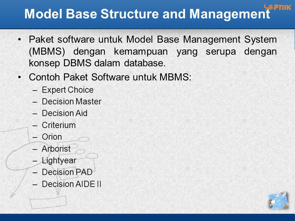 Model Base Structure and Management Paket software untuk Model Base Management System (MBMS) dengan kemampuan yang serupa dengan konsep DBMS dalam database.