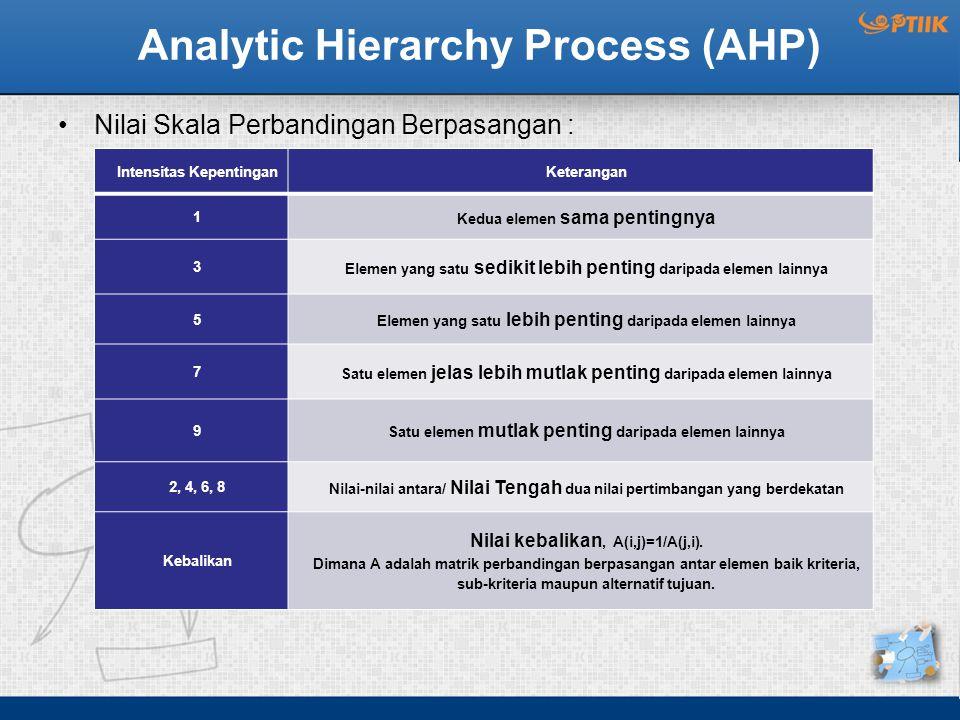 Analytic Hierarchy Process (AHP) Nilai Skala Perbandingan Berpasangan : Intensitas KepentinganKeterangan 1 Kedua elemen sama pentingnya 3 Elemen yang satu sedikit lebih penting daripada elemen lainnya 5 Elemen yang satu lebih penting daripada elemen lainnya 7 Satu elemen jelas lebih mutlak penting daripada elemen lainnya 9 Satu elemen mutlak penting daripada elemen lainnya 2, 4, 6, 8 Nilai-nilai antara/ Nilai Tengah dua nilai pertimbangan yang berdekatan Kebalikan Nilai kebalikan, A(i,j)=1/A(j,i).