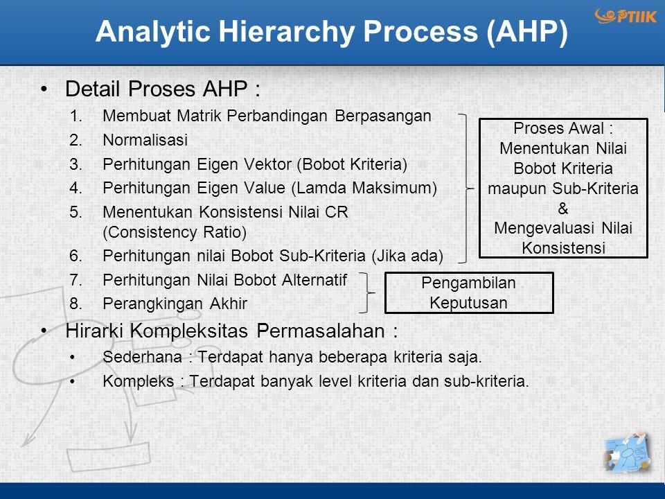 Analytic Hierarchy Process (AHP) Detail Proses AHP : 1.Membuat Matrik Perbandingan Berpasangan 2.Normalisasi 3.Perhitungan Eigen Vektor (Bobot Kriteria) 4.Perhitungan Eigen Value (Lamda Maksimum) 5.Menentukan Konsistensi Nilai CR (Consistency Ratio) 6.Perhitungan nilai Bobot Sub-Kriteria (Jika ada) 7.Perhitungan Nilai Bobot Alternatif 8.Perangkingan Akhir Hirarki Kompleksitas Permasalahan : Sederhana : Terdapat hanya beberapa kriteria saja.