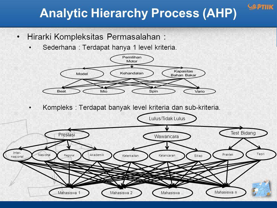 Analytic Hierarchy Process (AHP) Hirarki Kompleksitas Permasalahan : Sederhana : Terdapat hanya 1 level kriteria. Kompleks : Terdapat banyak level kri