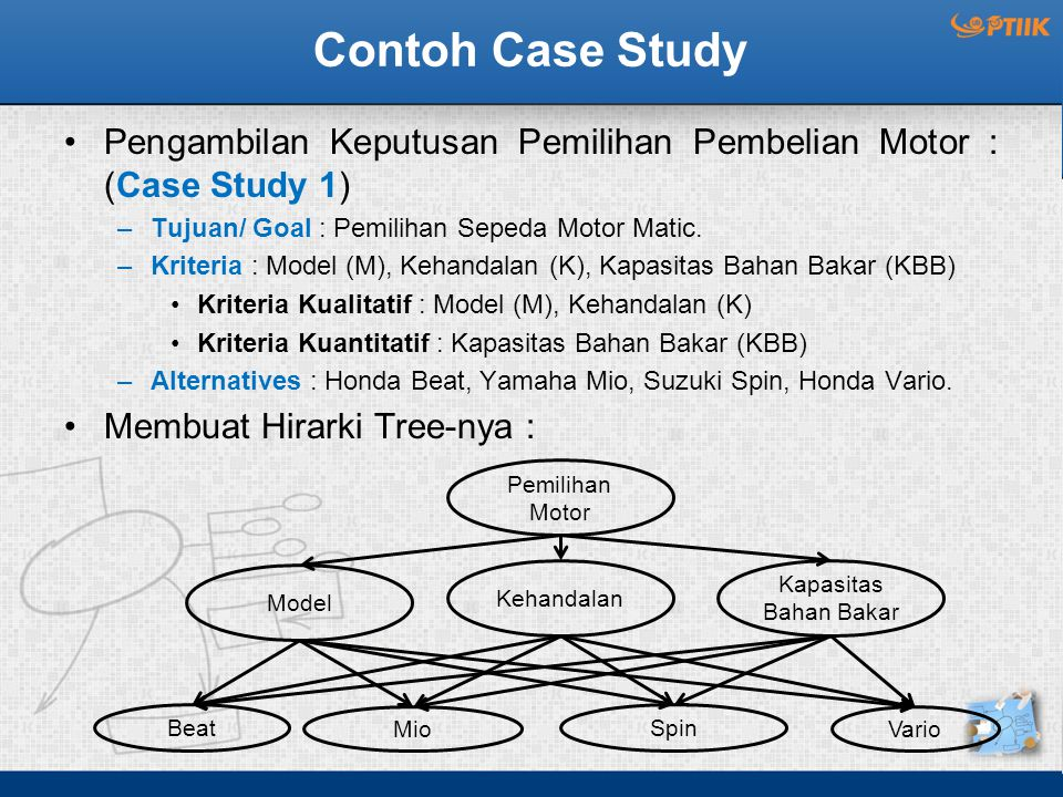Contoh Case Study Pengambilan Keputusan Pemilihan Pembelian Motor : (Case Study 1) –Tujuan/ Goal : Pemilihan Sepeda Motor Matic. –Kriteria : Model (M)