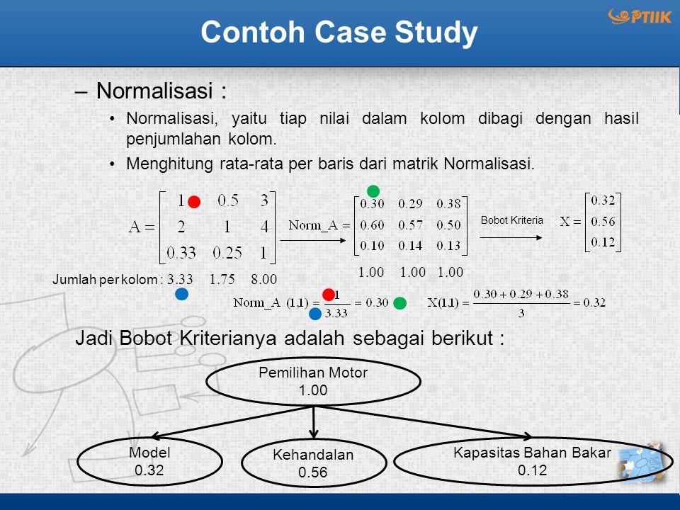 Contoh Case Study –Normalisasi : Normalisasi, yaitu tiap nilai dalam kolom dibagi dengan hasil penjumlahan kolom.
