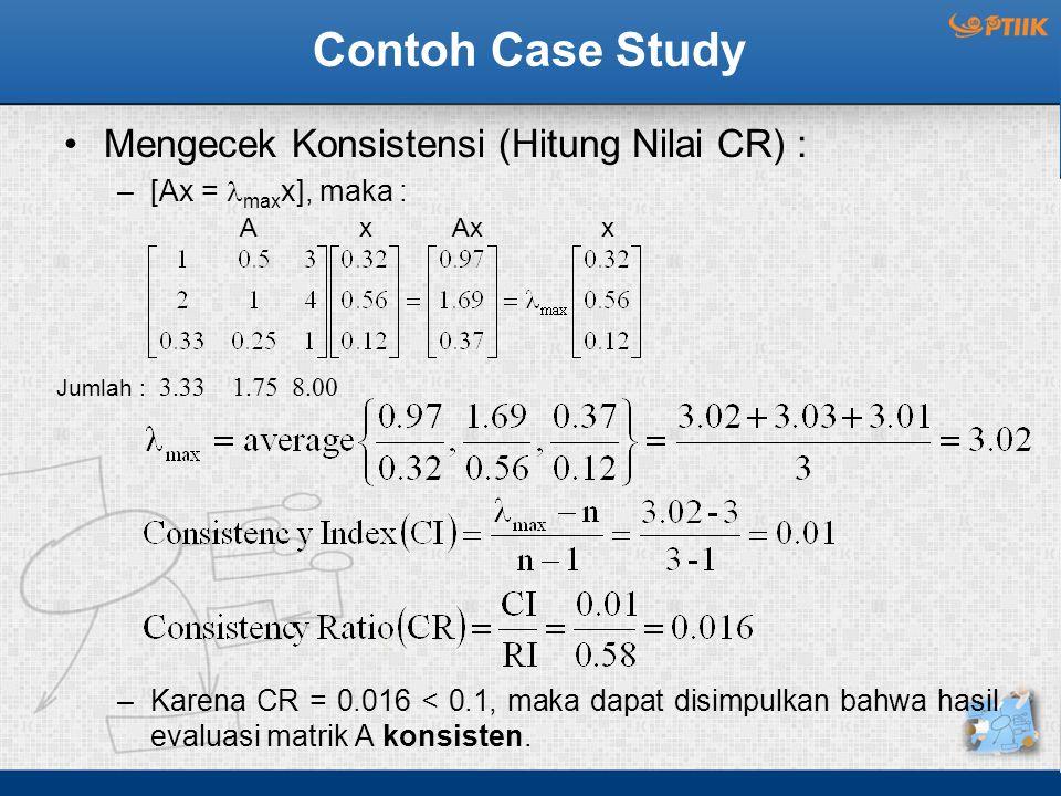Contoh Case Study Mengecek Konsistensi (Hitung Nilai CR) : –[Ax = max x], maka : –Karena CR = 0.016 < 0.1, maka dapat disimpulkan bahwa hasil evaluasi matrik A konsisten.