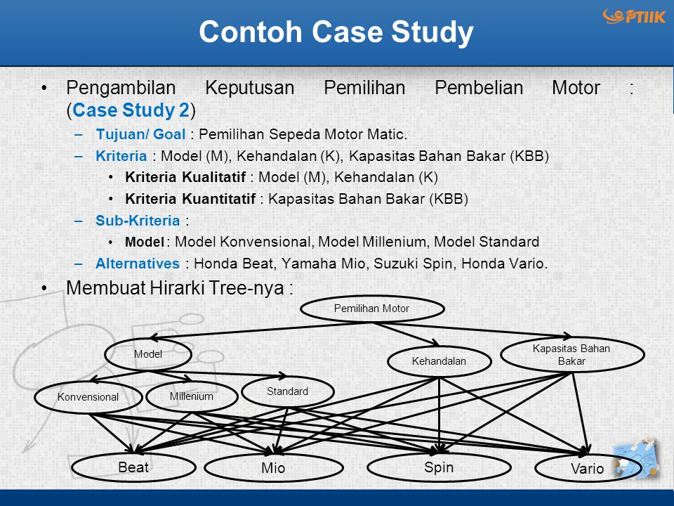Contoh Case Study Pengambilan Keputusan Pemilihan Pembelian Motor : (Case Study 2) –Tujuan/ Goal : Pemilihan Sepeda Motor Matic. –Kriteria : Model (M)