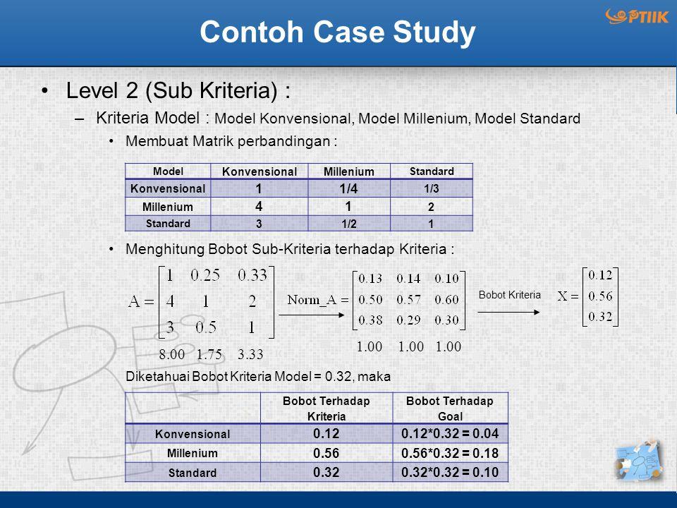 Contoh Case Study Level 2 (Sub Kriteria) : –Kriteria Model : Model Konvensional, Model Millenium, Model Standard Membuat Matrik perbandingan : Menghitung Bobot Sub-Kriteria terhadap Kriteria : Diketahuai Bobot Kriteria Model = 0.32, maka Model KonvensionalMillenium Standard Konvensional 11/4 1/3 Millenium 41 2 Standard 31/21 Bobot Terhadap Kriteria Bobot Terhadap Goal Konvensional 0.120.12*0.32 = 0.04 Millenium 0.560.56*0.32 = 0.18 Standard 0.320.32*0.32 = 0.10 8.00 1.75 3.33 Bobot Kriteria 1.00 1.00 1.00