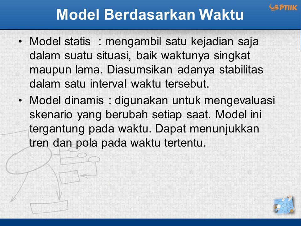 Model Berdasarkan Waktu Model statis : mengambil satu kejadian saja dalam suatu situasi, baik waktunya singkat maupun lama. Diasumsikan adanya stabili