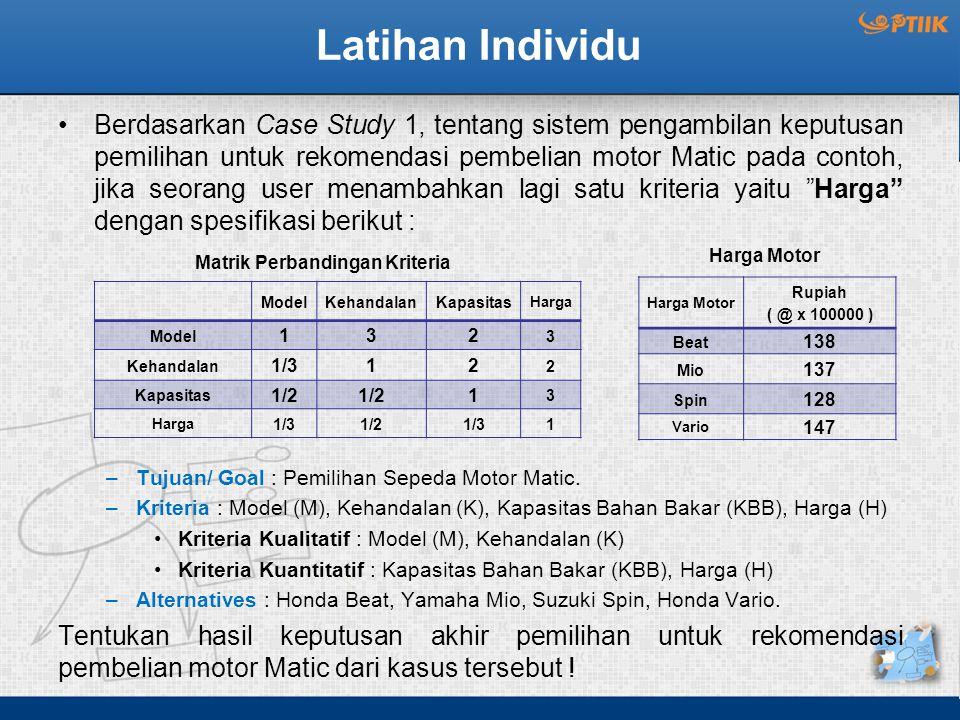 Latihan Individu Berdasarkan Case Study 1, tentang sistem pengambilan keputusan pemilihan untuk rekomendasi pembelian motor Matic pada contoh, jika se