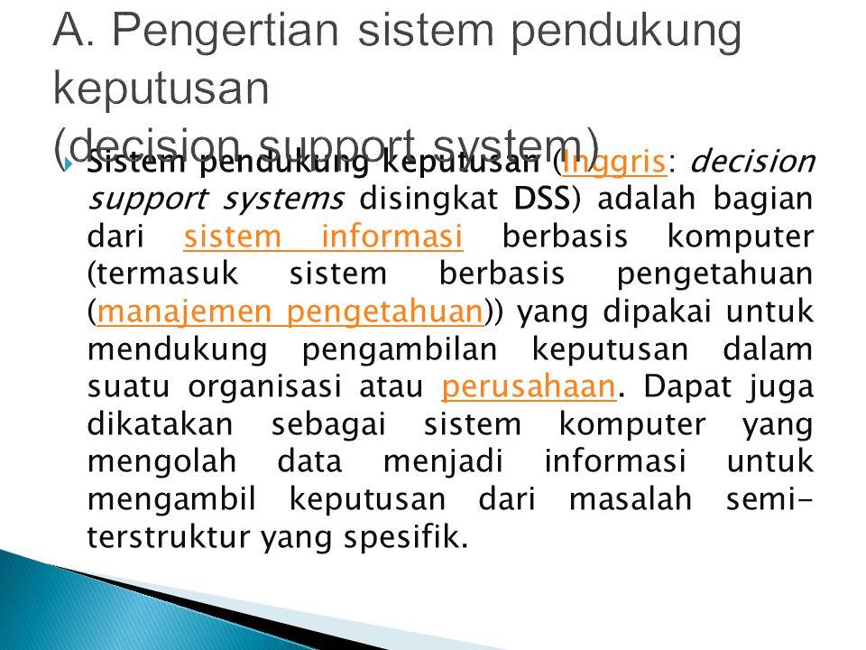  Sistem pendukung keputusan (Inggris: decision support systems disingkat DSS) adalah bagian dari sistem informasi berbasis komputer (termasuk sistem berbasis pengetahuan (manajemen pengetahuan)) yang dipakai untuk mendukung pengambilan keputusan dalam suatu organisasi atau perusahaan.