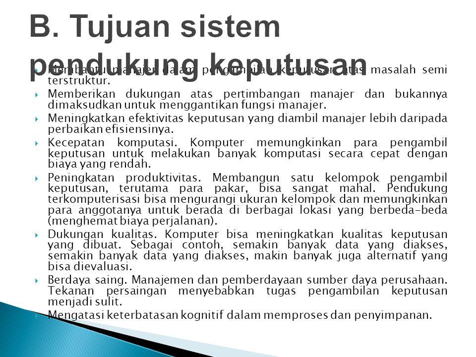  Membantu manajer dalam pengambilan keputusan atas masalah semi terstruktur.