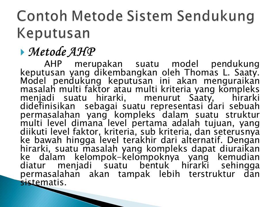  Metode AHP AHP merupakan suatu model pendukung keputusan yang dikembangkan oleh Thomas L.