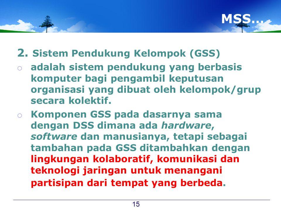 MSS… 2. Sistem Pendukung Kelompok (GSS) o adalah sistem pendukung yang berbasis komputer bagi pengambil keputusan organisasi yang dibuat oleh kelompok
