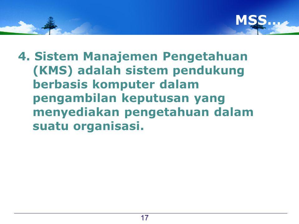 MSS… 4. Sistem Manajemen Pengetahuan (KMS) adalah sistem pendukung berbasis komputer dalam pengambilan keputusan yang menyediakan pengetahuan dalam su