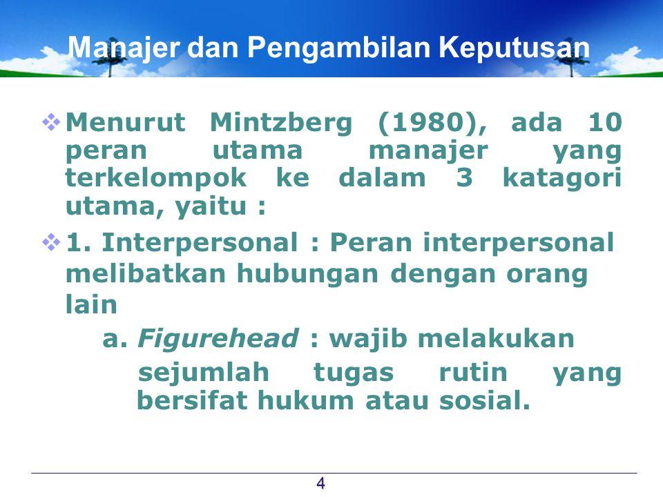 Manajer dan Pengambilan Keputusan  Menurut Mintzberg (1980), ada 10 peran utama manajer yang terkelompok ke dalam 3 katagori utama, yaitu :  1. Inte