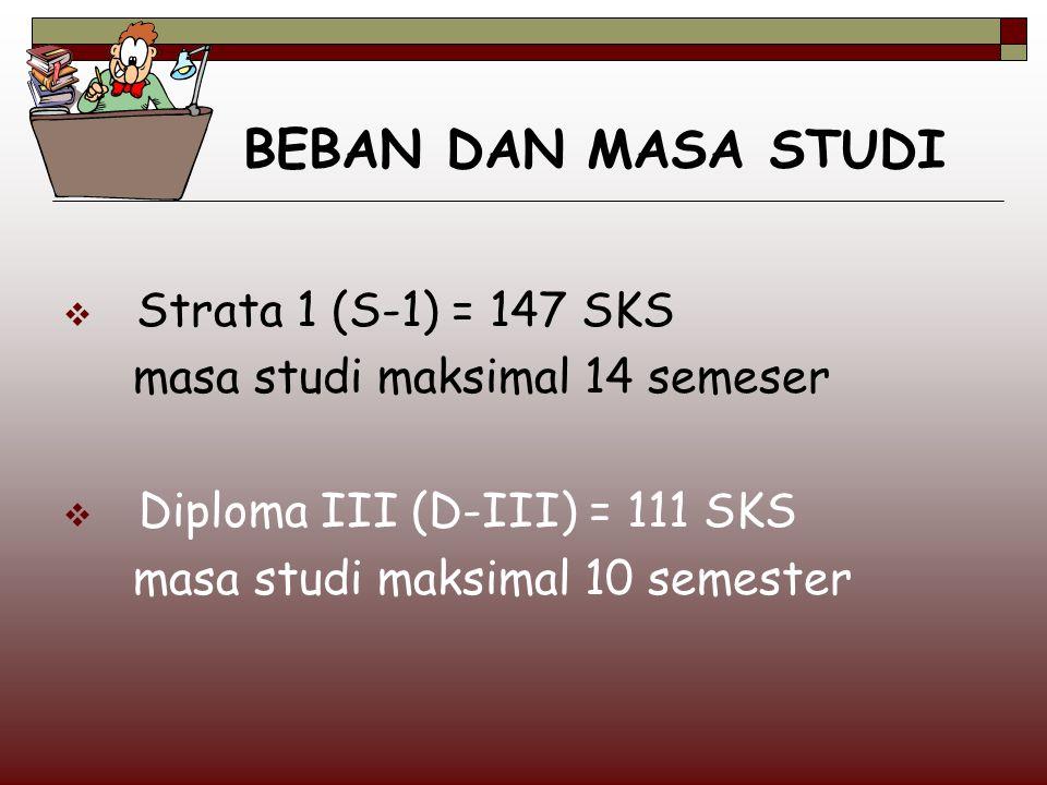 BEBAN DAN MASA STUDI  Strata 1 (S-1) = 147 SKS masa studi maksimal 14 semeser  Diploma III (D-III) = 111 SKS masa studi maksimal 10 semester