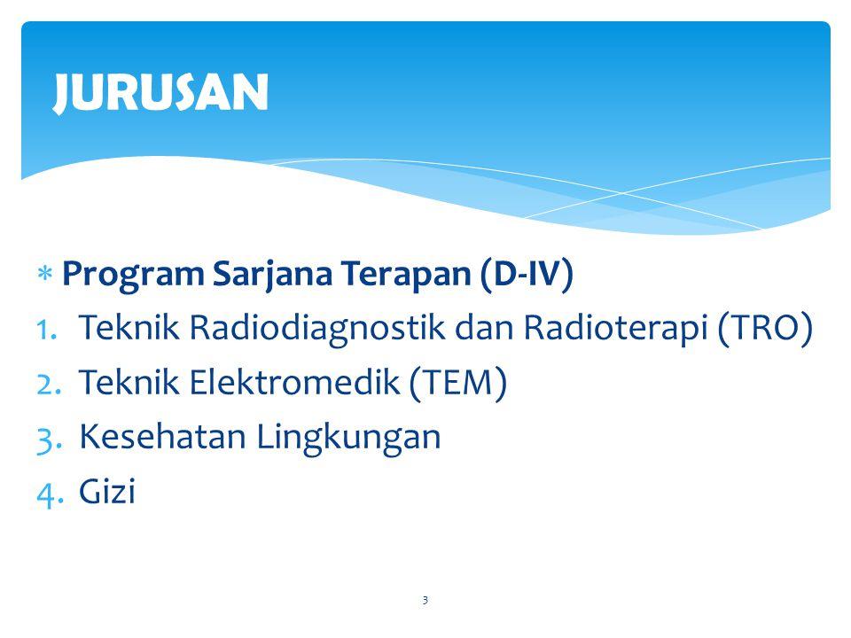  Program Diploma III (D-III) 1.Teknik Radiodiagnostik dan Radioterapi (TRO) 2.Teknik Elektromedik (TEM) 3.Teknik Gigi 4.Gizi 5.Kesehatan Lingkungan 6.Analisa Farmasi dan Makanan (ANFAR) 7.Farmasi 4 JURUSAN