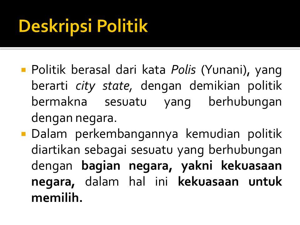  Politik berasal dari kata Polis (Yunani), yang berarti city state, dengan demikian politik bermakna sesuatu yang berhubungan dengan negara.  Dalam