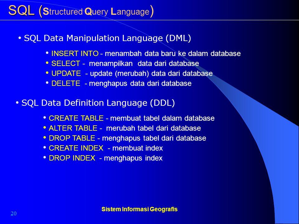 20 Sistem Informasi Geografis SQL ( SQL ( S tructured Q uery L anguage ) SQL Data Manipulation Language (DML) INSERT INTO - menambah data baru ke dala
