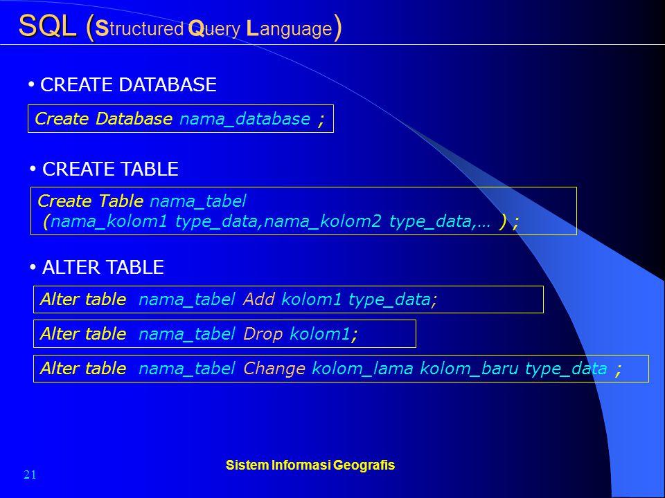 21 Sistem Informasi Geografis SQL ( SQL ( S tructured Q uery L anguage ) CREATE DATABASE Create Database nama_database ; CREATE TABLE Create Table nam
