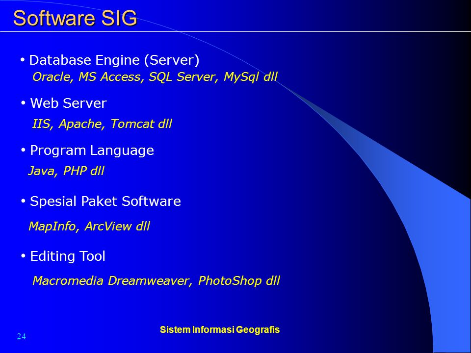 24 Sistem Informasi Geografis Software SIG Database Engine (Server) Web Server Program Language Oracle, MS Access, SQL Server, MySql dll IIS, Apache,