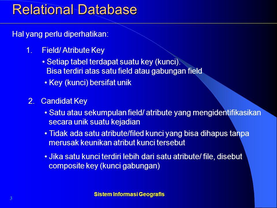 3 Sistem Informasi Geografis Relational Database 1. Field/ Atribute Key Hal yang perlu diperhatikan: Setiap tabel terdapat suatu key (kunci). Bisa ter