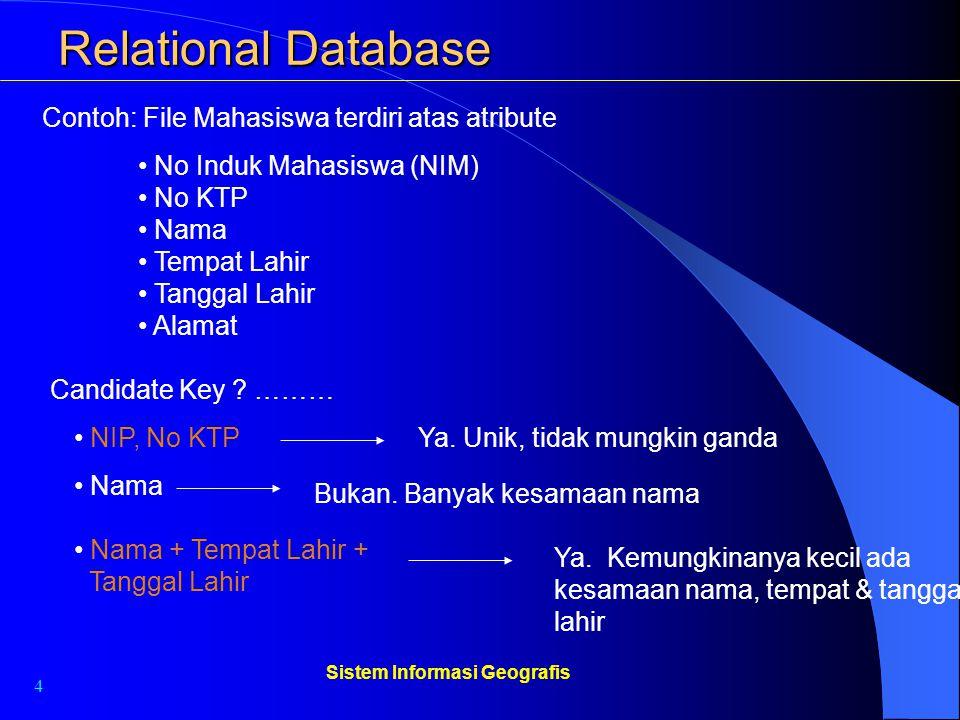 4 Sistem Informasi Geografis Relational Database Contoh: File Mahasiswa terdiri atas atribute No Induk Mahasiswa (NIM) No KTP Nama Tempat Lahir Tangga