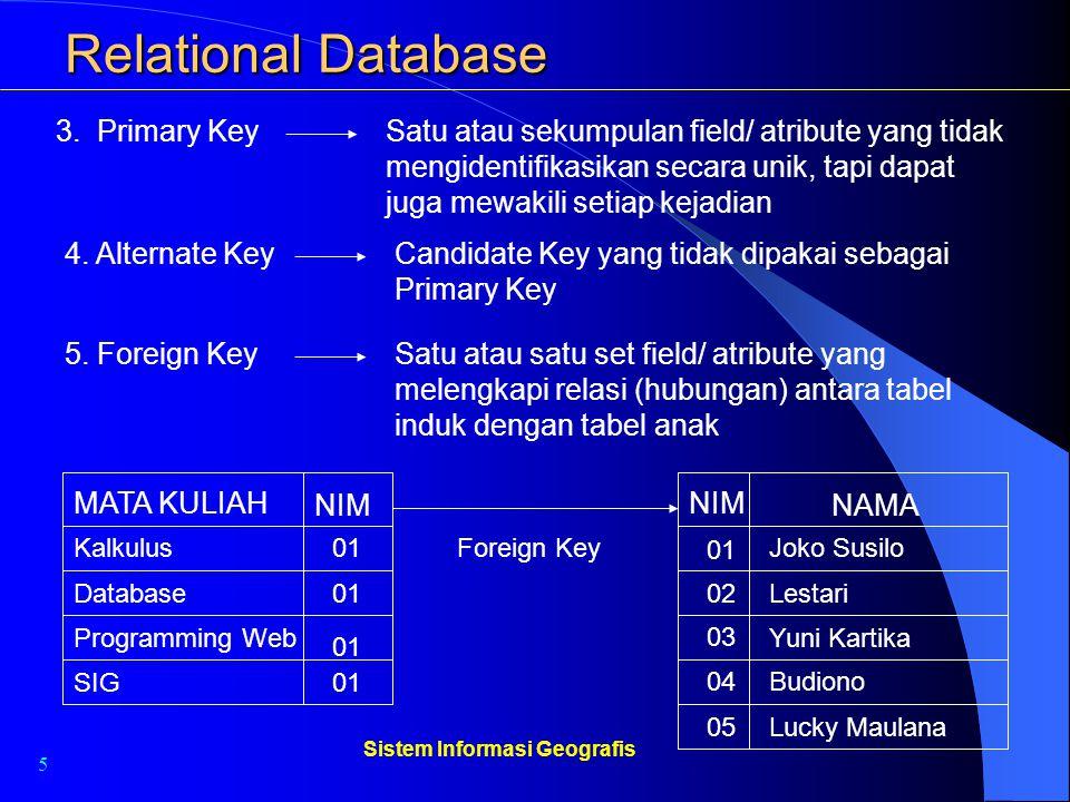 5 Sistem Informasi Geografis Relational Database 3. Primary KeySatu atau sekumpulan field/ atribute yang tidak mengidentifikasikan secara unik, tapi d