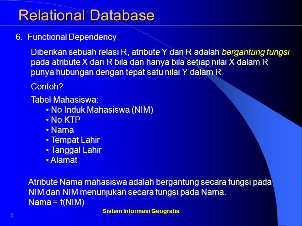 6 Sistem Informasi Geografis Relational Database 6. Functional Dependency Diberikan sebuah relasi R, atribute Y dari R adalah bergantung fungsi pada a
