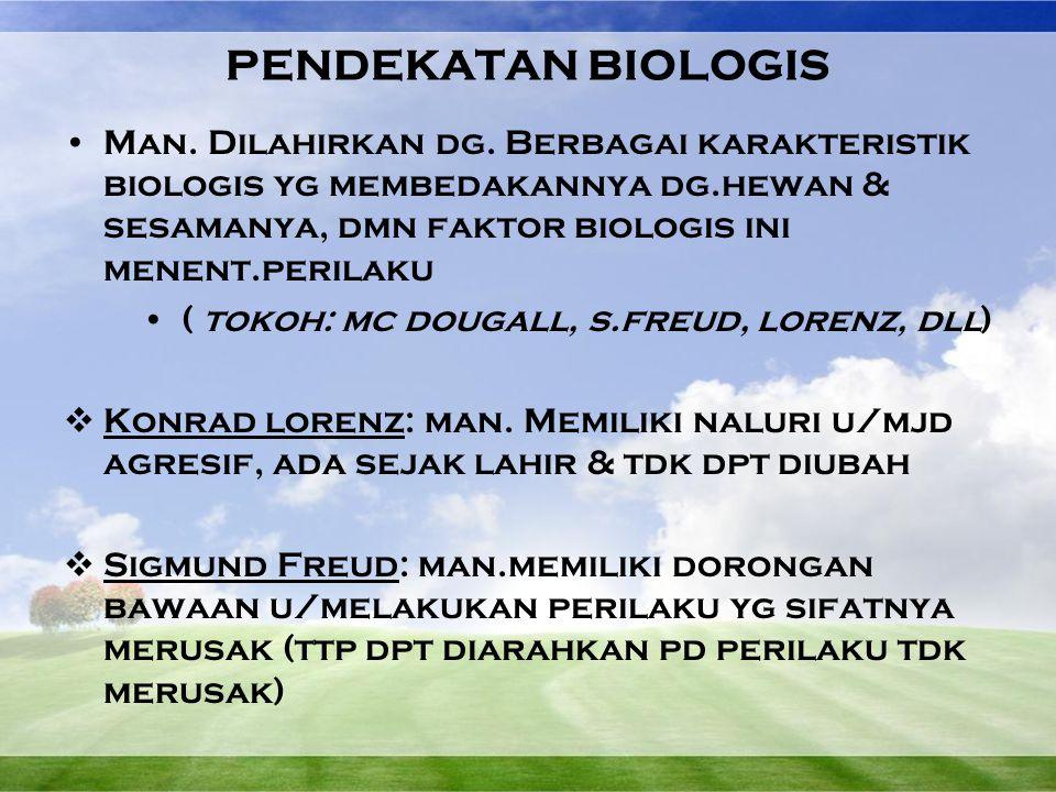 Perbedaan genetik menimbulkan perbedaan perilaku Penyebab semua perilaku dpt diketahui dr sifat biologis individu Misalnya:  Susunan genetik  Karakter bawaan  Karakter fisik yg berkembang sejak lahir  Produksi hormon  Perangsangan otak  dll