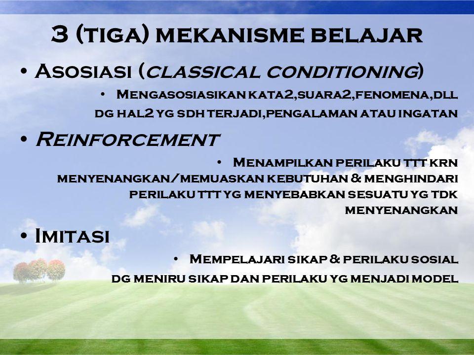 3 (tiga) mekanisme belajar Asosiasi (classical conditioning) Mengasosiasikan kata2,suara2,fenomena,dll dg hal2 yg sdh terjadi,pengalaman atau ingatan