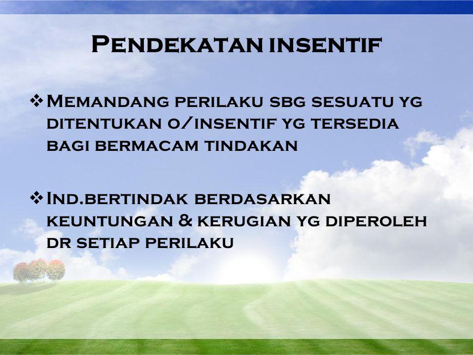 Pendekatan insentif  Memandang perilaku sbg sesuatu yg ditentukan o/insentif yg tersedia bagi bermacam tindakan  Ind.bertindak berdasarkan keuntunga