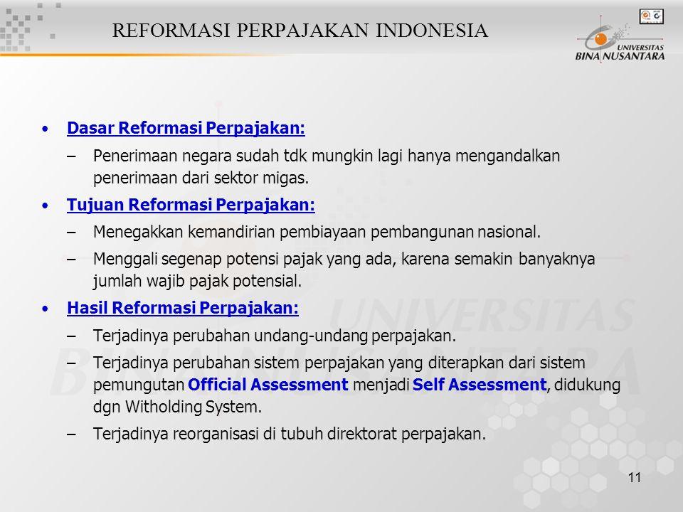 11 REFORMASI PERPAJAKAN INDONESIA Dasar Reformasi Perpajakan: –Penerimaan negara sudah tdk mungkin lagi hanya mengandalkan penerimaan dari sektor miga