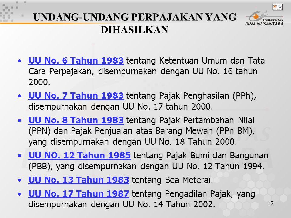 12 UNDANG-UNDANG PERPAJAKAN YANG DIHASILKAN UU No. 6 Tahun 1983 tentang Ketentuan Umum dan Tata Cara Perpajakan, disempurnakan dengan UU No. 16 tahun